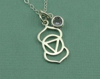 Third Eye Chakra Crystal Necklace - sterling silver chakra pendant, yoga necklace, gemstone, yoga gifts