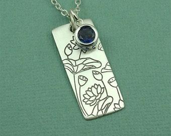 Gemstone Lotus Flower Necklace - sterling silver necklace - lotus flower jewelry - yoga necklace - birthstone necklace