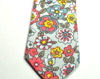 Grey and Coral Floral Necktie Floral Neckties Coral Neckties Wedding Neckties Custom Neckties, Mens Neckties Grey and Coral