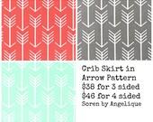 Ships Fast- Flat Crib Skirt in Arrow Fabric