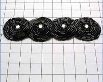 """FS2239  Black Braided Rhinestone Beaded Applique 4.75""""  (FS2239-BK)"""