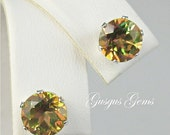 Mystic Topaz Green Orange Gold 7mm Round 3.15ctw Sterling Silver