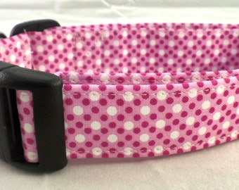 Perfectly Preppy Pin Polka Dots On A Fuschia White and Pink Dog Collar