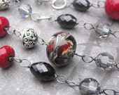 Artisan Lampwork Bead Necklace Oxidized Sterling Silver Wire Wrapped with Swarovski Crystals and Black Spinel Gemstone