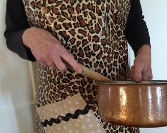 Retro/ Funky leopard oilcloth apron