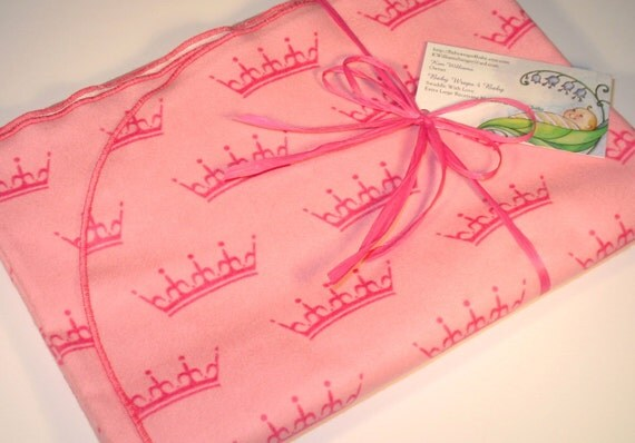 Extra Large Pink Crown Flannel Receiving Blanket Princess
