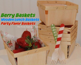 Farmers Market Fruit Baskets, 6 Quart Size Berry Baskets, Party Food Basket, Strawberry Shortcake Party, Farm Party Favors, Country Weddings