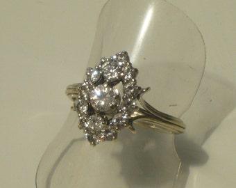 Art deco white gold diamond ring  1CT