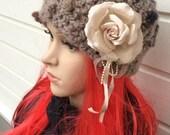 Crochet Hat in Brown-Beige shades, Winter Warm Hat,  Beanie, Women's Ski Hat, Girl Hat, Chunky Hat, gift,  Flower hat