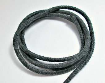 Wrapped cotton cord, cotton rope, dark grey, 1 meter