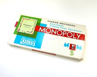 Vintage 1960s Board Game / Parker Brothers Monopoly 1961 Complete / The Real Estate Trading Game