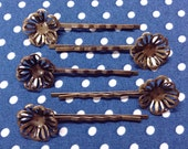10 Pcs Antique Brass Bobby Pin W/Filigree, NICKEL FREE (Bb05)
