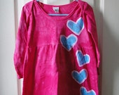 Toddler Girls Dress: Fuchsia Pink with Batik Turquoise Blue Hearts, Long Sleeves (2T) Ready to Ship