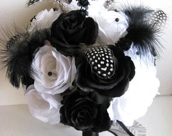"""Wedding Bouquet Bridal Silk flowers BLACK WHITE FEATHERS Zebra 17 pieces Package Flower Bouquets Boutonniere centerpieces """"RosesandDreams"""""""