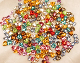 Random Mix Rectangle and Heart Acrylic Gems non-sew glue in faceted back - 25 total assorted sizes