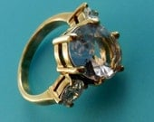 Vintage italian signed HC Diamond pale rose glass cocktail Ring - Hollywood collection with warranty certificate  - Art.537/3-