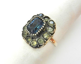Antique beautiful Italian ring 1950 large stone sapphire glass -retro elegance - size 7 1/2 - Art.44/3--