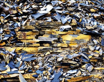 Colourful Blue and Yellow Broken Slate and Stone - Abstract Fine Art Photograph - Gallery Quality Wall Art in Various Sizes and Finishes