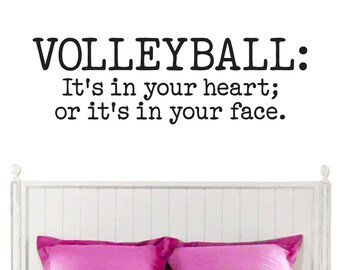 I Love Volleyball Sports Wall Decals - Vinyl volleyball wall decals