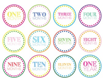 Colorful Monthly Baby Milestone Onesie Stickers