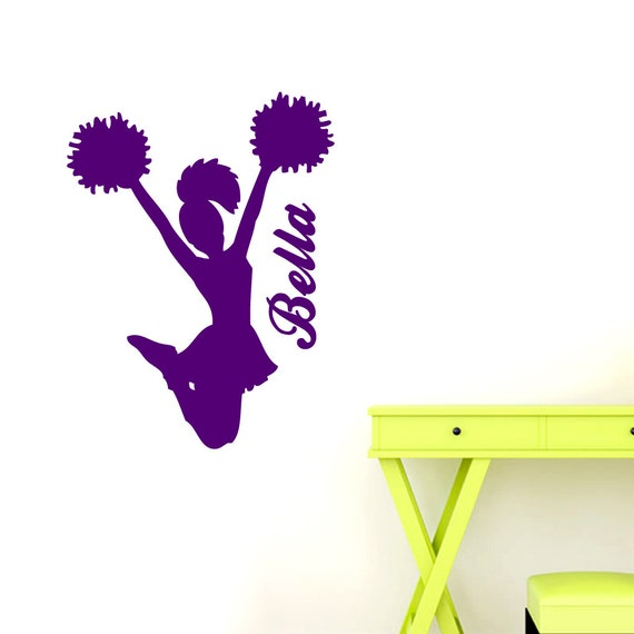 Custom personalized cheerleader sports wall decals for Cheerleader wall mural