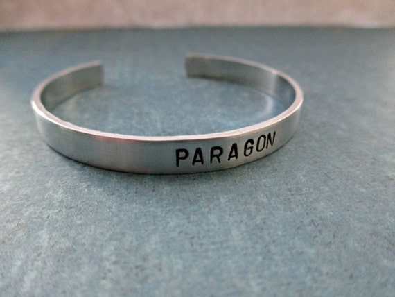 paragon - hand stamped aluminum mass effect inspired skinny cuff bracelet