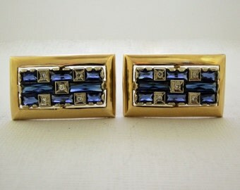Lucien Piccard 14k Cufflinks 1960s Precious Stones