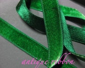 Vintage ribbon French rayon velvet 1/2 inch Kelly green