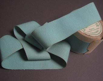 Vintage Petersham ribbon silk cotton aqua blue 2-1/4 inch
