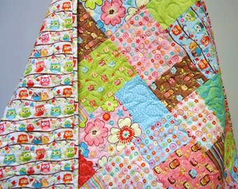 Baby Girl Owl Quilt-Traditional-Modern Patchwork-Happy Flappers-Pink-Blue-Green-Brown-Riley Blake-Owl Baby Blanket