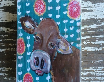 cow,teal with flowers,ACEO  Reproduction Mounted On Wood Block by Sunshine Girl Designs (2.5 x 3.5 Inches Print)