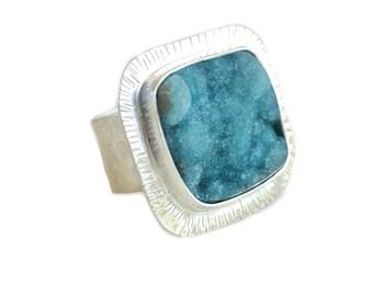 Blue Hemimorphite Ring, Made in CA