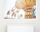 """Large Wall Art // Carousel Photography // Large Coney Island Carnival Photography // Carousel Print Nursery // - """"Ride the Sky II"""""""