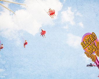 "Carnival Photography // Nursery Decor // Coney Island Art // Theme Park Photography - ""Electro Spin Coney Island"""