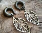 Bronze Skeleton Leaf Dangle Gauged Earrings Plugs
