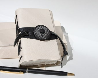 Skull - Cream Leather Notebook Diary Journal Book - Hand Sewn with Handmade Stoneware Adornment