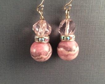 Pink Rhodochrosite and crystal earrings