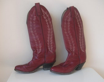 Red Leather 80s Badass Western Cowgirl Bootis, Size 6.5