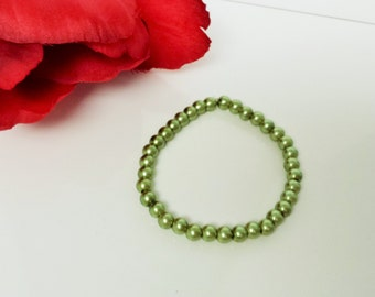 Sage Green 6mm Glass Pearl Bracelet for Bridesmaid, Flower Girl or Prom