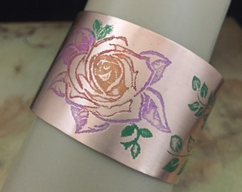 Copper Etched Flower Cuff Bracelet