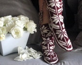 Winter Booties, Long Slippers, Cozy, Wool Socks, Mukluk, Leg Warmers, Slippers