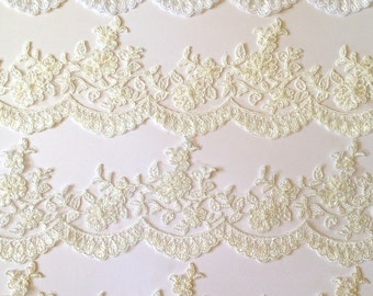 """Alencon trim lace,  beaded with sequences, Re-embroidered lace alenson style, in white, silk and diamond white, ivory, Champagne 3.5"""" width"""
