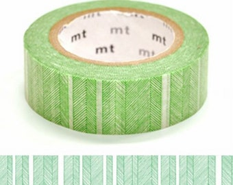 Hand Drawing Green and White Border Tape, DECO Series, Japanese mt Washi Paper Masking Tape, Collage, Wrapping, Chic Green Clolor Art Design