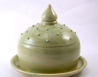 Prickly Pear Butter Dish - Cheese Dish - Cupcake Dish - Ready to Ship