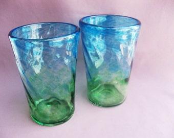 Hand  Blown Art Glass Tumblers