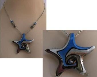 Nautical Art Glass Starfish Necklace Jewelry Handmade NEW Chain Accessories