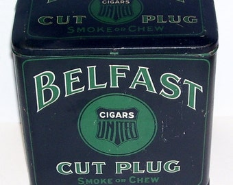 Antique Belfast Cigars United Cut Plug Smoke or Chew Tin, Tobacco Tin, Tall 6 inches tin,United Cigar Stores Co., Pipe tobacco,