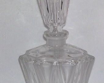 Art Deco Tall Perfume Bottle, Glass Scent Bottle, Elegant Depression Bottle,Leaded Bottle, Fragrance Bottle, Perfume Glass, Art Deco Bottle