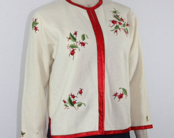 Darling 1950s Vintage Cardigan -  Ivory and Red LADYBUG Embroidered Sweater - 40 / 34