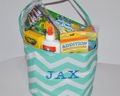 Personalized Bucket, Monogrammed Tote/ Basket, Chevron Mint Green Bucket/ Embroidered Bag.  Toy Basket, Easter Basket Bag